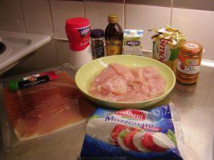 Italienska kycklingrullader: ingredienser