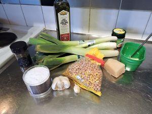 Kikärts- och purjolökssoppa: ingredienser