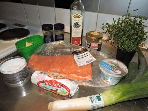 Laxfilé med purjolök och chèvreost: ingredienser