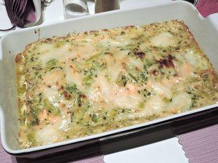 Laxfilé med purjolök och chevreost