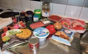 Enchiladas med köttfärs, svamp och oliver: ingredienser