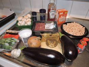 Köttfärsgratäng med bönor och svamp: ingredienser