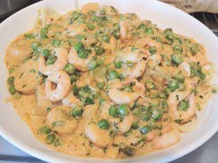Pasta med räkor och musslor